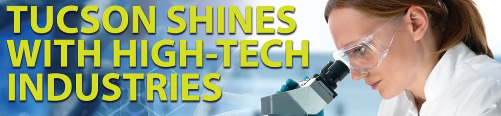 """Graphic of scientist and the headline """"Tucson Shines with High-Tech Industries"""""""