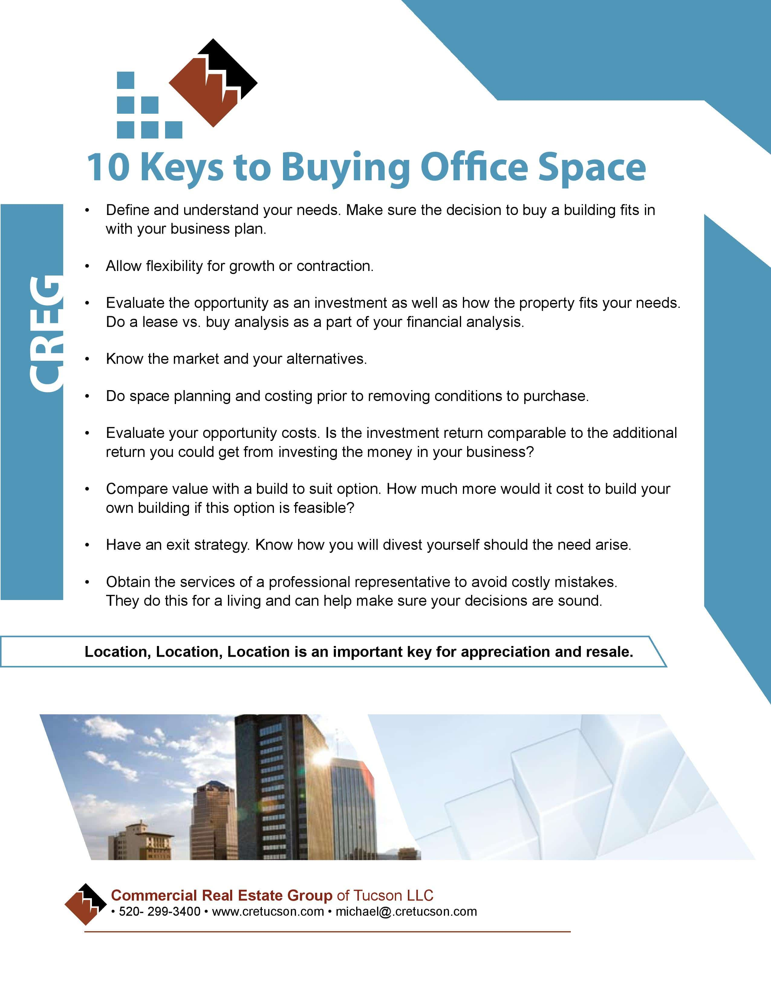10 Keys to Buying Office Space - CRETucson Tips