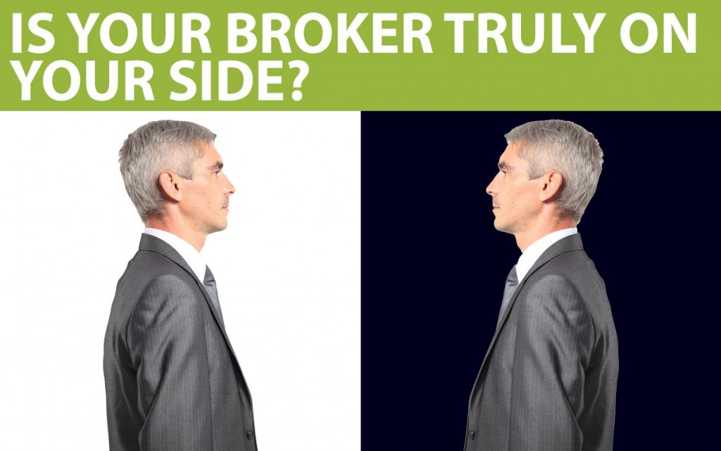 """""""Is Your Broker Truly on Your Side"""" text is above mirror images of a man."""