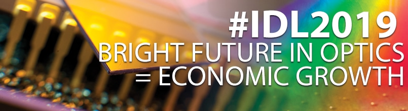 Tucson optics equipment with the copy: hashtag IDL2019 Bright Future in Optics equals Economic Growth.
